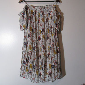 re:named Off The Shoulder Pleaded Chiffon Dress